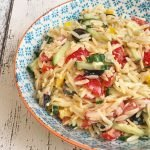 cheese pasta salad with orzo. T