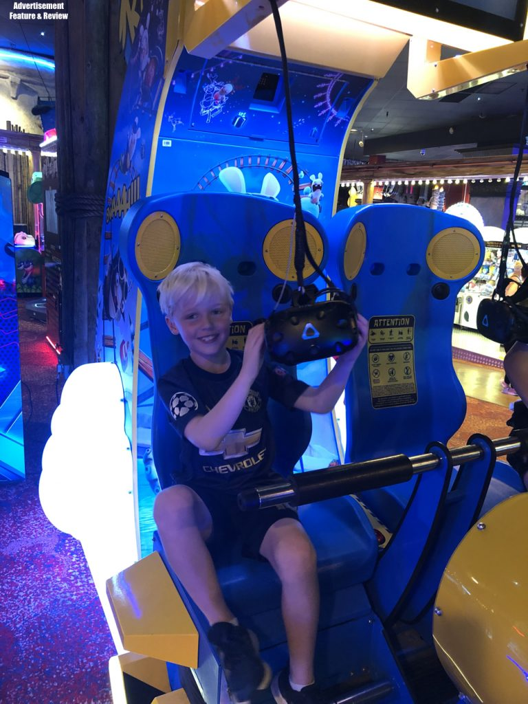 kids on the virtual reality ride coral island blackpool