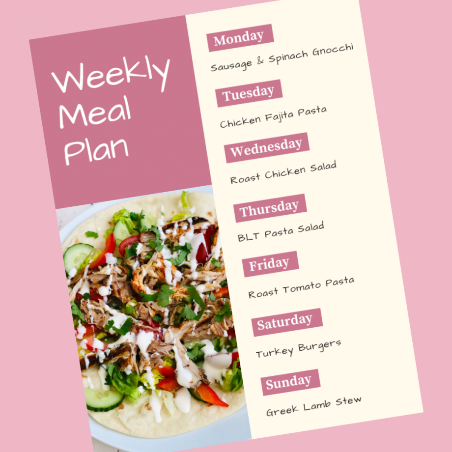 Weekly Meal Plan 5th August 2019