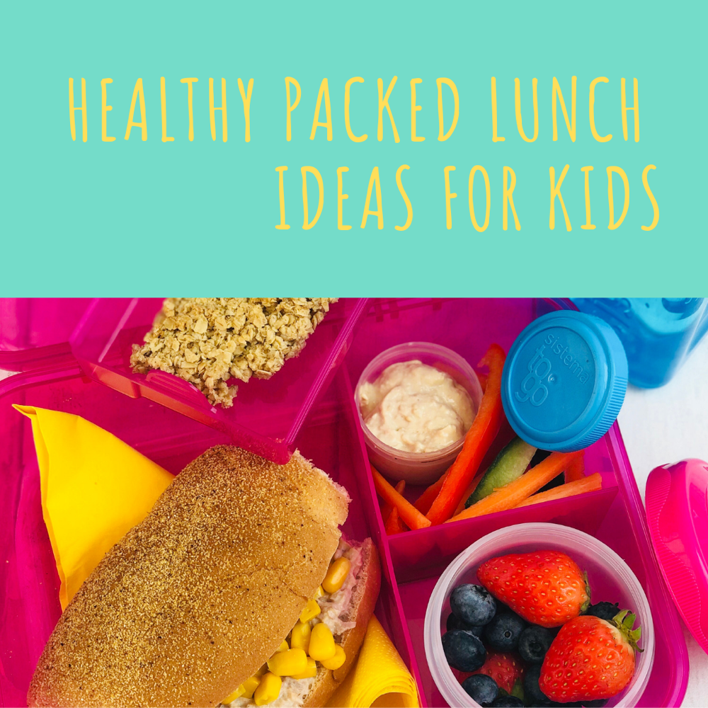 "healthy packed lunch idea - tuna and sweetcorn roll, fresh fruit salad pot, hummus with veggie sticks, homemade flapjack, bottle of water - all packed in Sistema lunch boxes and pots. Text ""healthy packed lunch ideas for kids"""