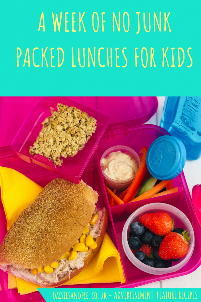 "healthy packed lunch idea - tuna and sweetcorn roll, fresh fruit salad pot, hummus with veggie sticks, homemade flapjack, bottle of water - all packed in Sistema lunch boxes and pots. Text ""a week of no-junk packed lunches for kids"""