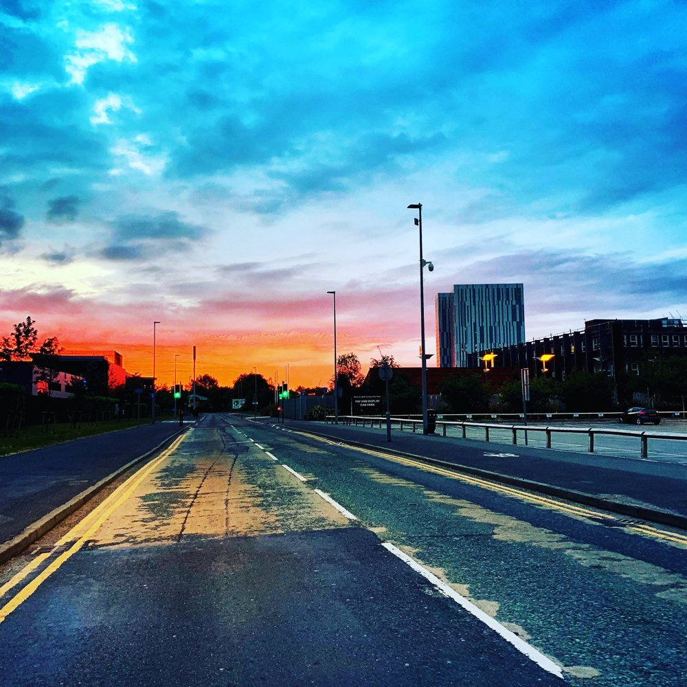 city road at sunrise