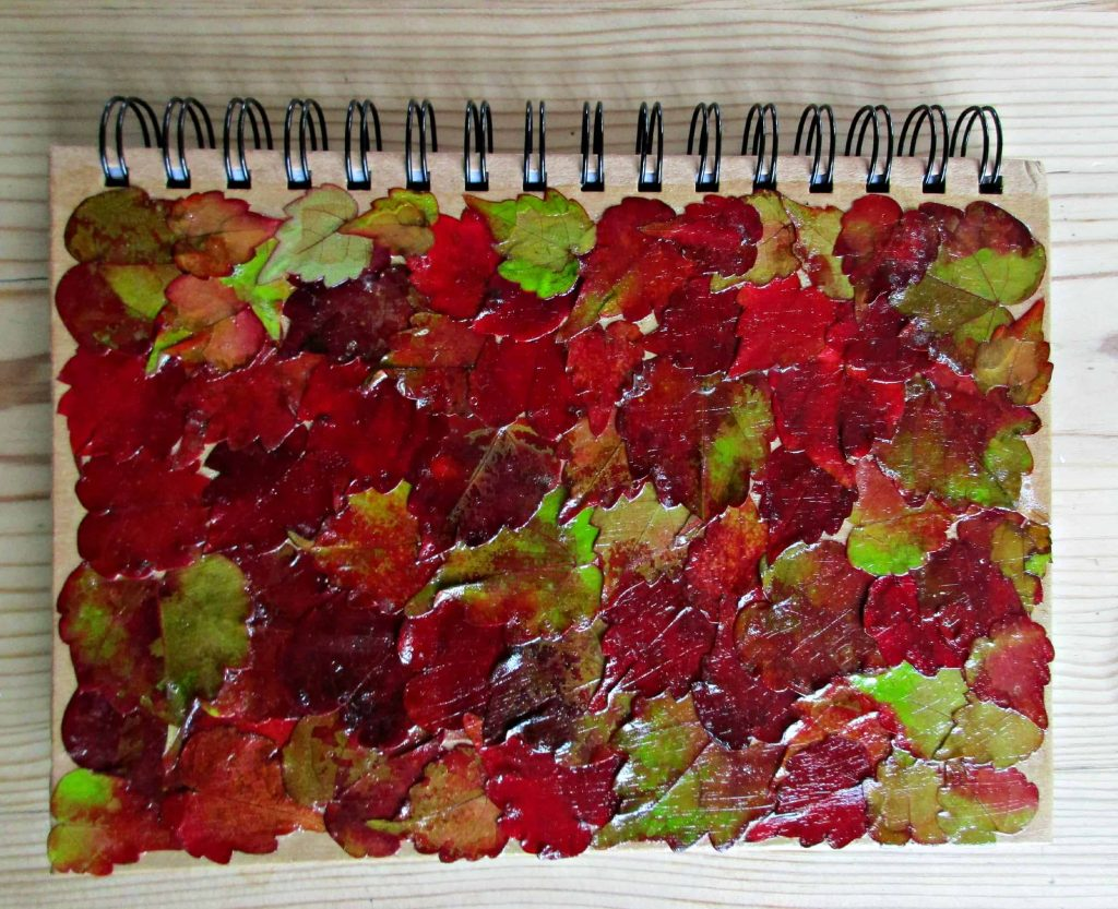 notebook with autumn leaf decoupage on the front