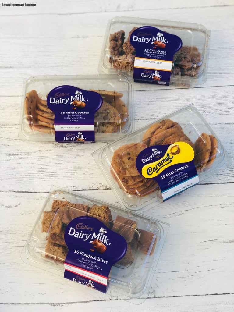 Four boxes of Cadbury Minibites in Cadbury Caramel Cookies, Cadbury Dairy Milk Cookies, Cadbury Cornflake Bites, Cadbury Chocolate Flapjacks