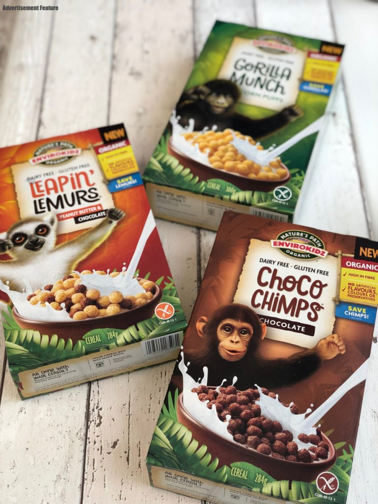 three boxes of Nature's Path cereal - Gorilla Munch, Leapin Lemurs and Choco Chimps organic breakfast cereal in three flavours - chocolate, peanut butter and chocolate and plain.