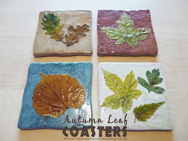 "coloured coasters in white, beige, blue and red with autumn leaves on the front. Text ""autumn leaf coasters"""
