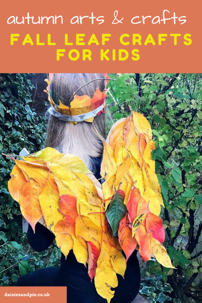 """autumn leaf craft wing and crown made from golden fallen leaves. text overlay """"autumn arts and crafts - fall leaf crafts for kids"""""""