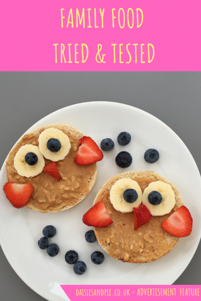 "toast made in the shape of an owl face. Text ""family food tried and tested"""
