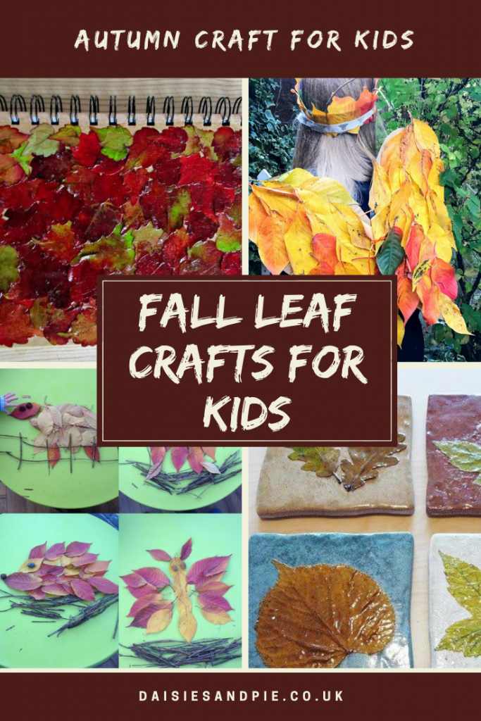"""four images with fall leaf crafts - fall leaf decoupage, fall leaf wings and crown, fall leaf animal pictures and fall leaf coasters. Text overlay """"fall leaf crafts for kids"""""""