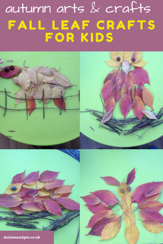 """animal pictures made from autumn leaves. Text overlay """"autumn arts and crafts - fall leaf crafts for kids"""""""