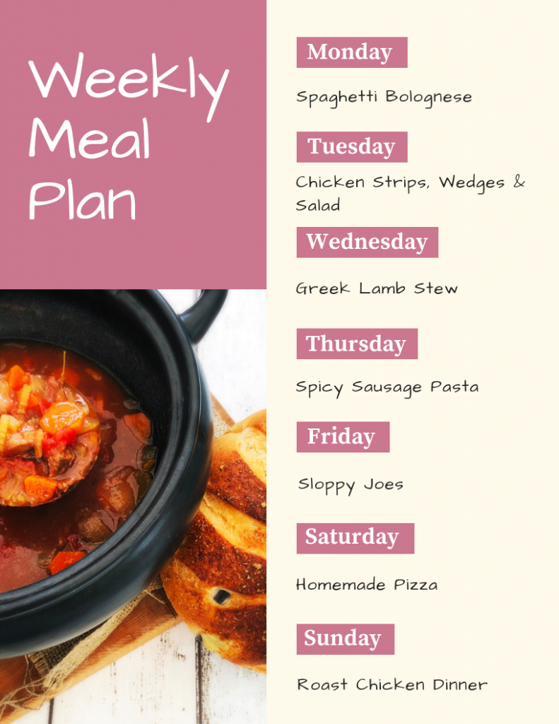 weekly meal plan - Monday - spaghetti bolognese, Tuesday - chicken strips, wedges and salad, Wednesday - Greek lamb stew, Thursday - spicy sausage pasta, Friday - sloppy joes, Saturday - homemade pizza, Sunday - chicken roast dinner