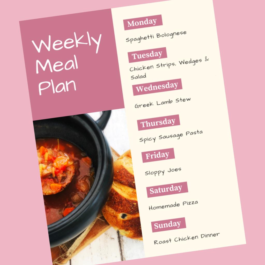 Weekly Meal Plan 2nd September 2019