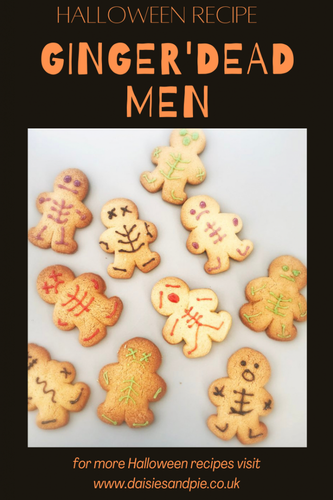 """platter of homemade Halloween gingerbread men decorated with icing to look like skeletons. Text overlay """"halloween recipe - ginger'dead men"""""""