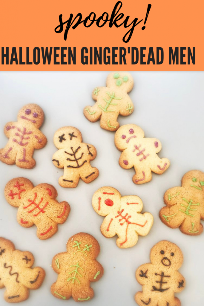 """platter of homemade Halloween gingerbread men decorated with icing to look like skeletons. Text overlay """"spooky halloween ginger'dead men"""""""
