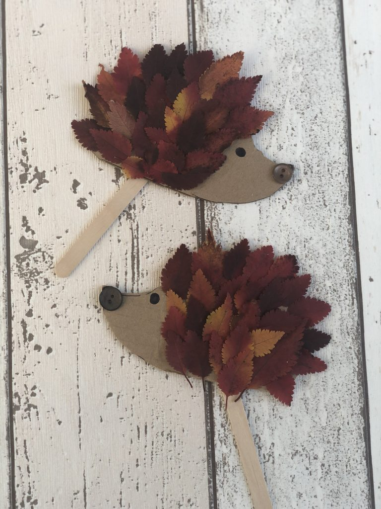 hedgehog craft made from red and orange autumn leaves stuck onto cardboard templates with painted on eyes and a stuck on button nose