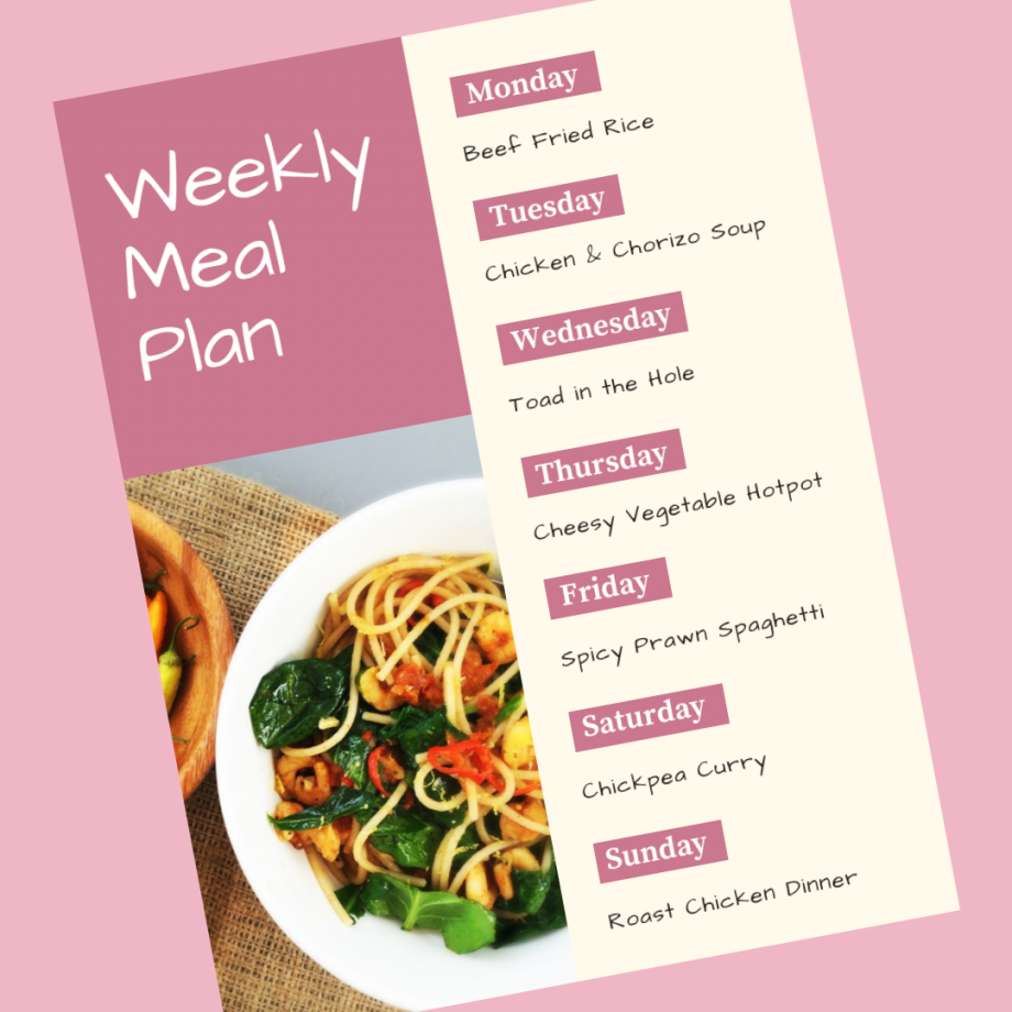 Weekly Meal Plan 14th October 2019