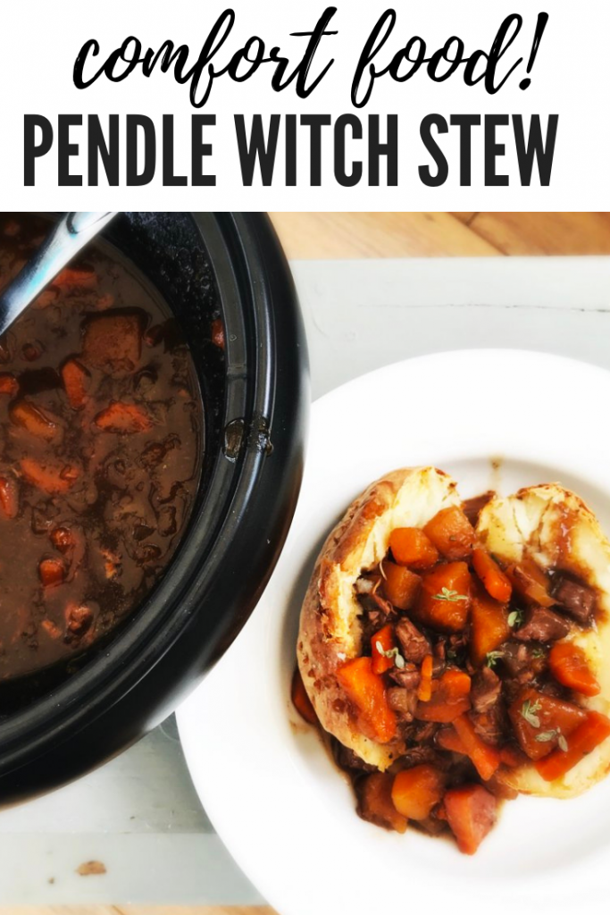 "Pendle Witch slow cooker lamb stew in the slow cooker pan, next to an oven baked potato filled with lamb stew. Text overlay ""comfort food - Pendle Witch Stew"""