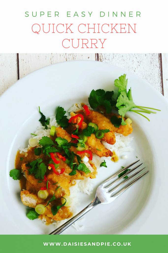 """quick chicken curry with crispy chicken strips and peanut butter curry sauce served over rice, garnished with chillies and coriander. Text """"super easy dinner - quick chicken dinner - www.daisiesandpie.co.uk"""""""