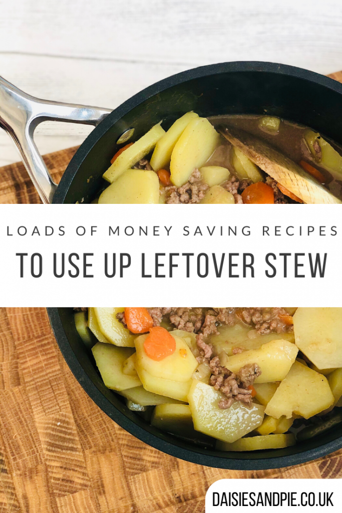 """black le creuset saucepan filled with potato hash. Text """"loads of money saving recipes to use up leftover stew"""""""