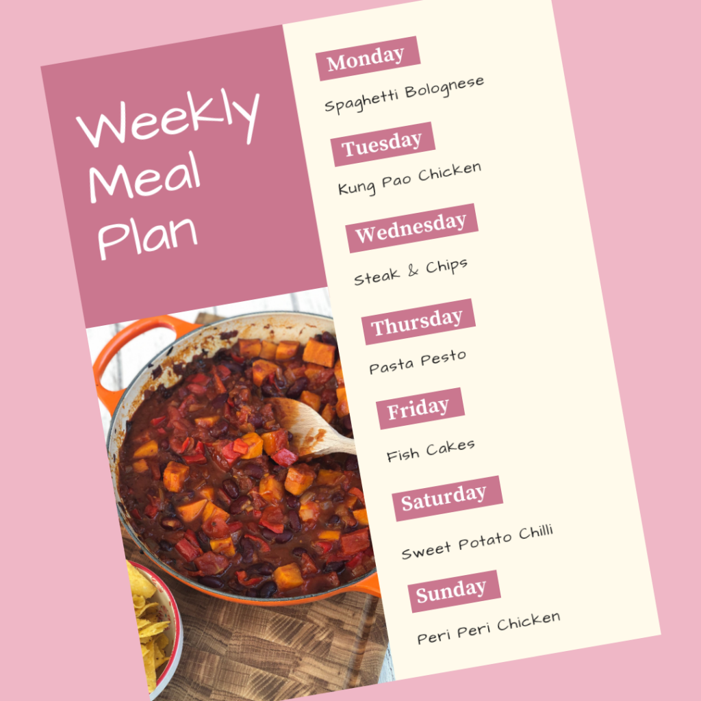 weekly meal plan - Monday - spaghetti bolognese, Tuesday - kung pao chicken, Wednesday - steak and chips, Thursday - pasta pesto, Friday - fish cakes, Saturday - sweet potato chilli, Sunday - peri peri chicken.