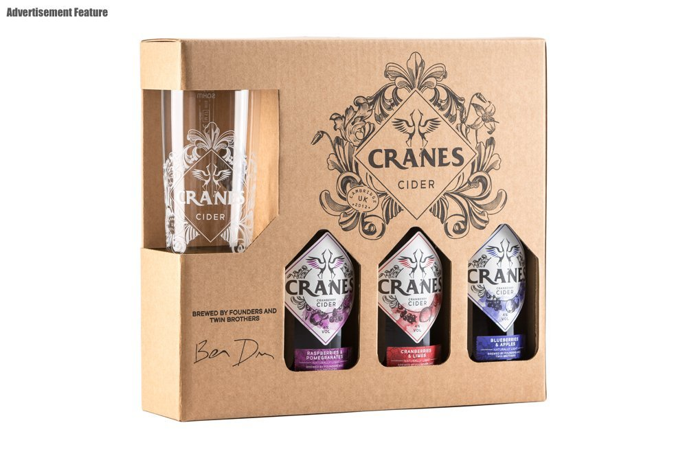 cranes cider gift set with three bottles of cranes cider and a decorated glass