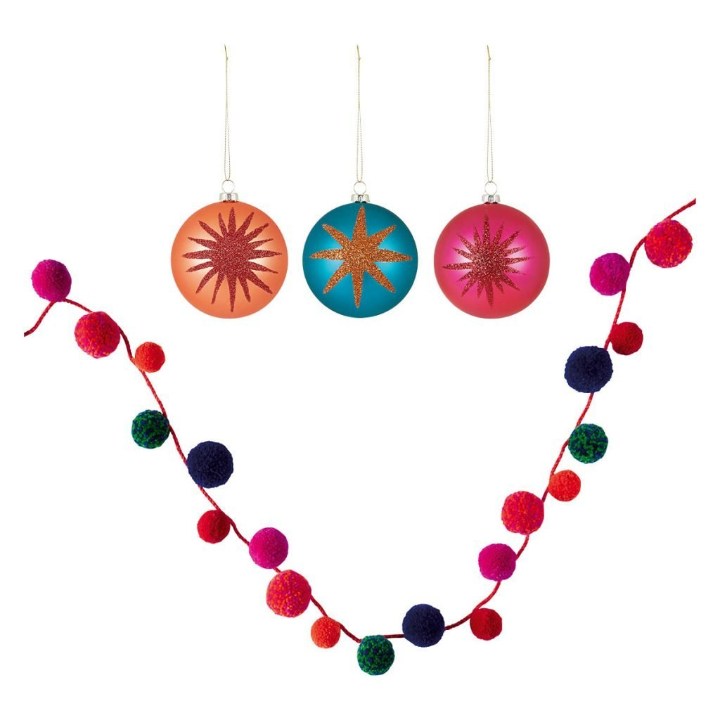 bright multicoloured christmas baubles and garland in orange, pink and turquoise from habitat