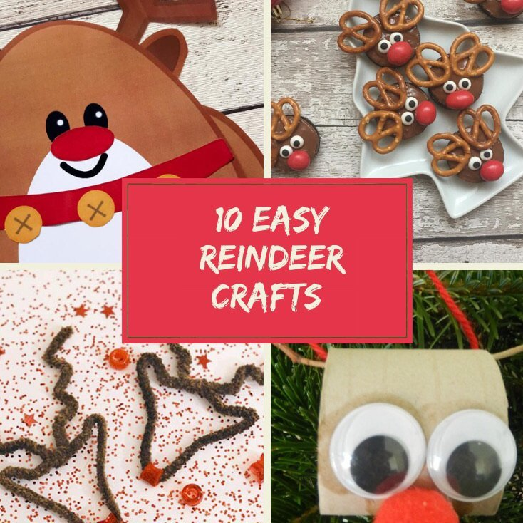 "four images of kids christmas reindeer crafts - one reindeer picture made from paper shapes, one image of little reindeer cakes made from chocolate dipped oreos, and pretzels, reindeer face outline made from brown pipe cleaners with little shiny red star nose, reindeer face made from toilet roll tube with google eyes and red pop pom nose. Text ""10 easy reindeer crafts"""