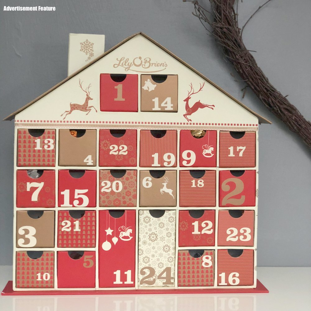 Lily O'Brien's chocolate advent calendar with little drawers stuffed witch chocolates