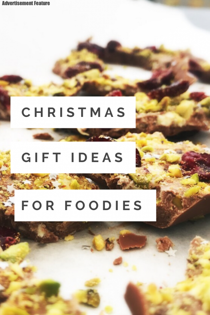 "festive chocolate bark with orange and cranberries. Text ""Christmas gift ideas for foodies"""