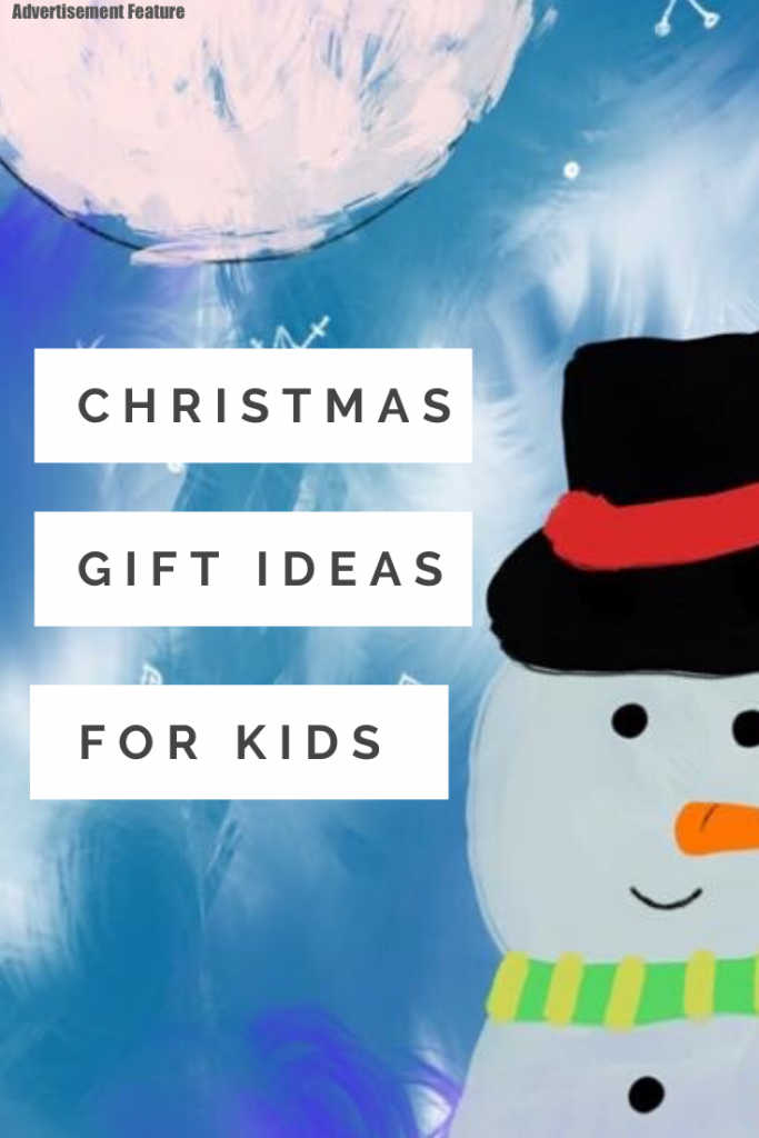 "cartoon snowman with blue snowy sky and moon. Text ""Christmas gift ideas for kids"""