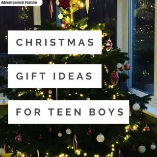 "christmas tree decorated in red and gold with white lights. Text ""christmas gift ideas for teen boys"""
