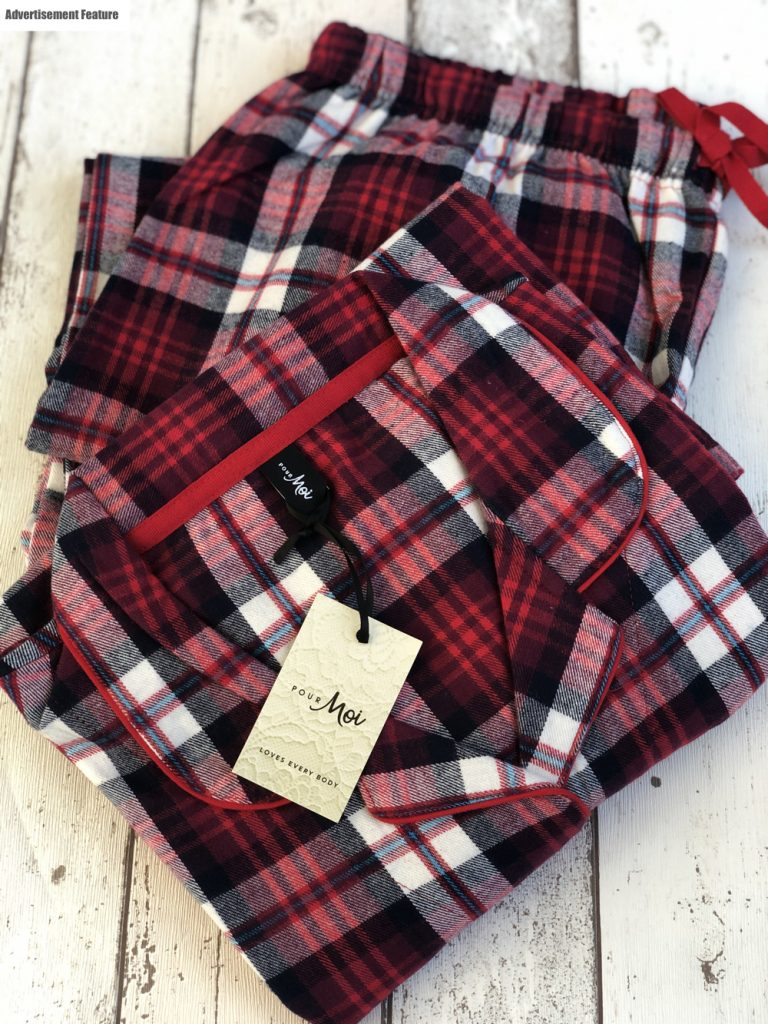 pour moi cosy tartan pyjamas in red
