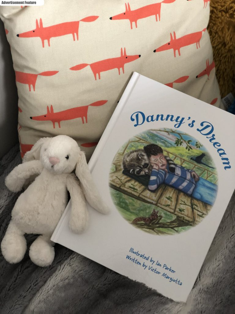 Danny's Dream by Victor Margiotta on a scion for cushion next to a jellycat rabbit
