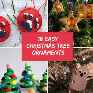 """kids homemade christmas tree decorations - snowy cat paw, stained glass cookies, pipe cleaner christmas trees, candy cane koala. Text """"Kids Christmas Crafts - 18 Christmas Tree Ornaments - www.daisiesandpie.co.uk"""""""