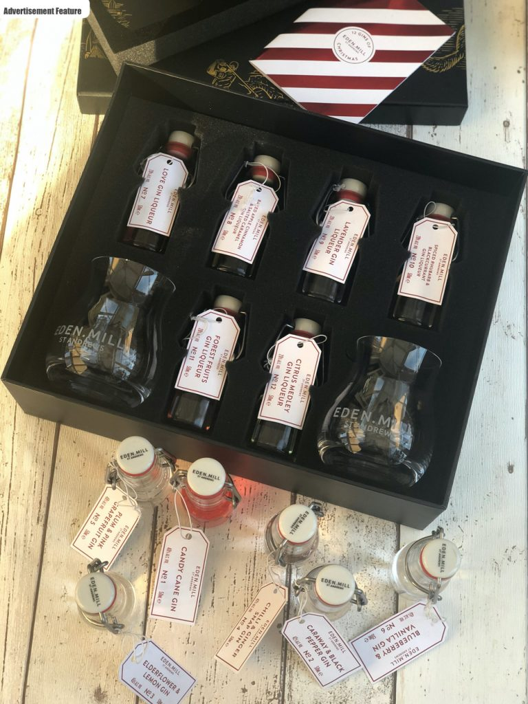 gin gift set - Eden Mills 12 gins of christmas gift set with 12 little kilner style bottles filled wit different flavours of gin and 2 etched gin glasses