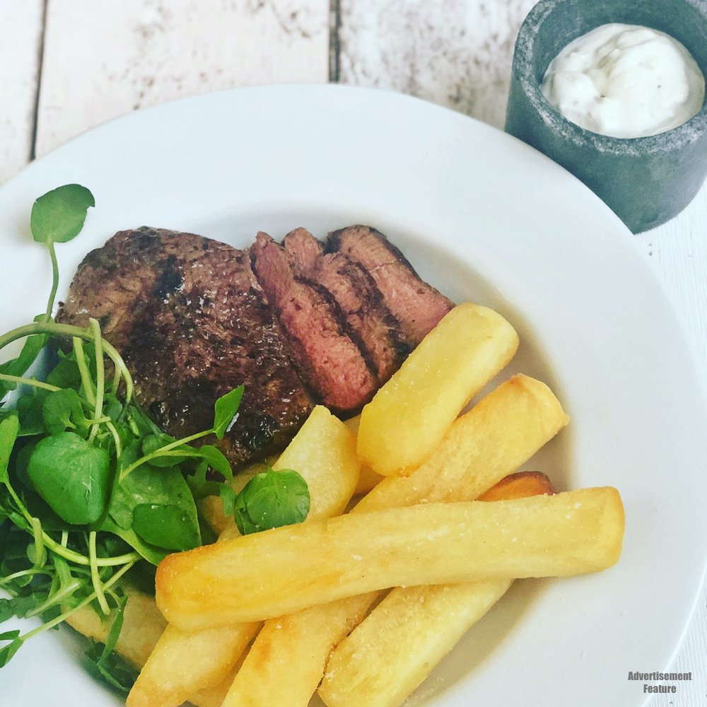 fillet steak with gastro chips, watercress salad and homemade blue cheese dressing