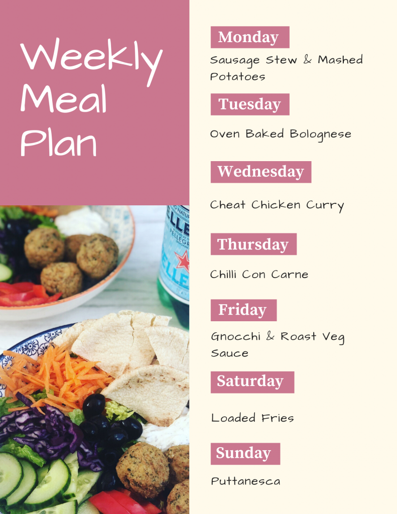 weekly meal plan on pink background with image of falafel lunch bowl containing falafel, cucumber, shredded carrot, pepper sticks, toasted pitta breads and red cabbage. Text - Monday - sausage casserole and mashed potatoes, Tuesday - oven baked bolognese, Wednesday - cheats chicken curry, Thursday - chilli con carne, Friday - gnocchi and roast veg sauce, Saturday- loaded fries, Sunday- puttanesca