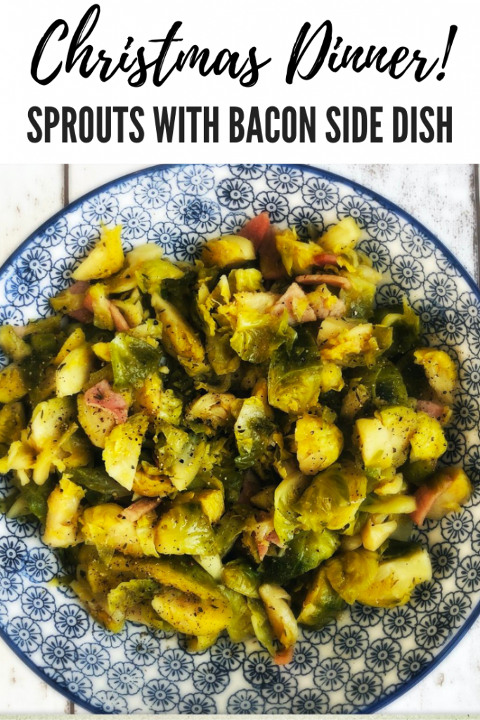 """Brussel sprouts with bacon and maple syrup served in a blue and white serving bowl. Text overlay """"Christmas Dinner sprouts with bacon side dish"""""""