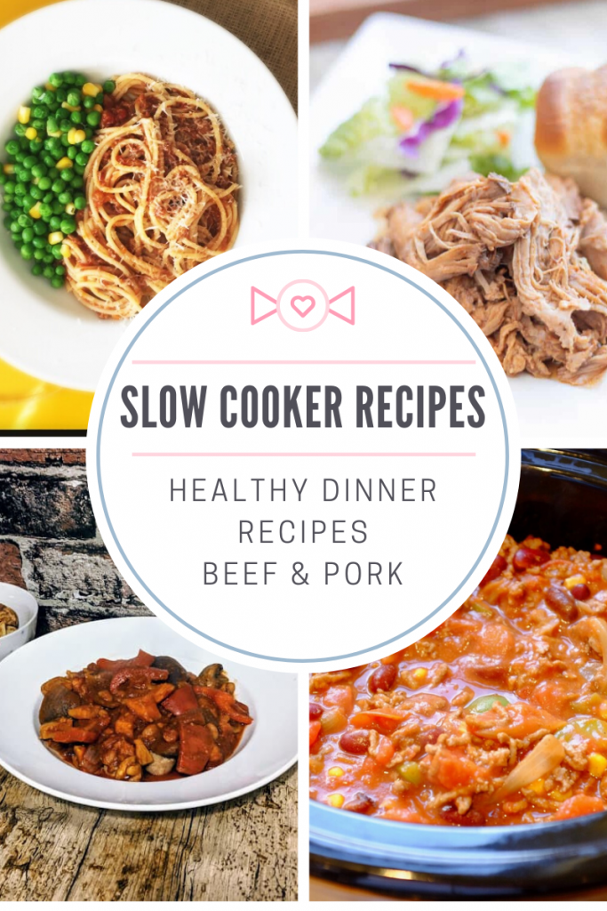 "photo collage of four healthy slow cooker recipes - slow cooker bolognese sauce served with spaghetti and a side of peas and corn, slow cooker slimming world friendly pulled pork in a pile on a plate, slow cooker slimming world friendly sausage casserole served in a bowl and slow cooker lean beef chilli con carne. Text overlay ""slow cooker recipe - healthy dinner recipes beef and pork"""