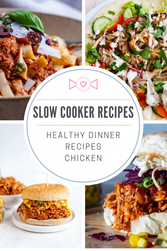 "photo collage of four healthy slow cooker recipes with chicken. slow cooker chicken marinara served with tagliatelle and torn basil, slow cooker chicken shawarma on flatbread with salad, slow cooker pulled chicken in wholemeal bun with salad, slow cooker pulled chicken in a roll with slaw. Text overlay ""slow cooker recipes, healthy dinner recipes with chicken"""