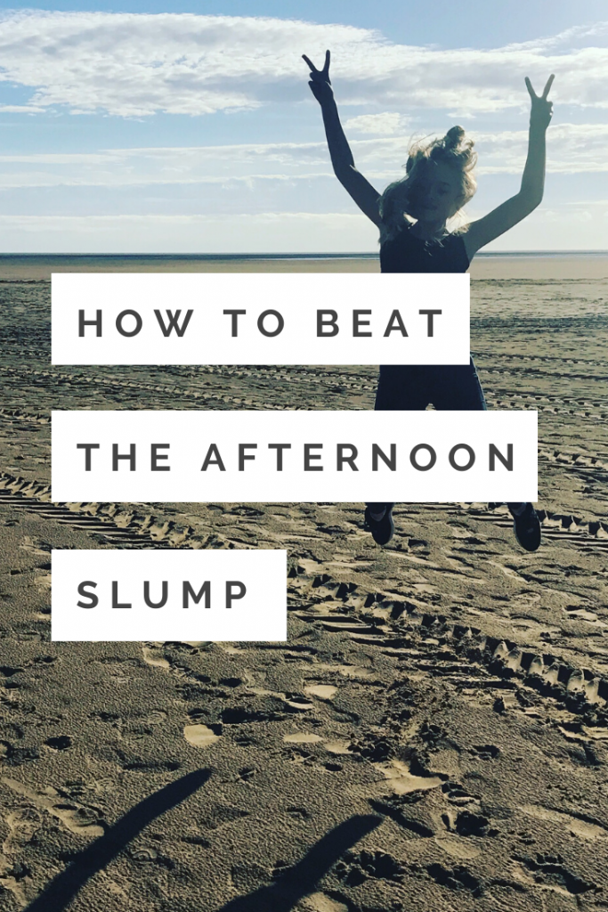 """Lytham St Annes beach with the sea right out in the distance, blonde girl jumping high up into the air making the peace symbol with her hands. Text overlay """"how to beat the afternoon slump"""""""