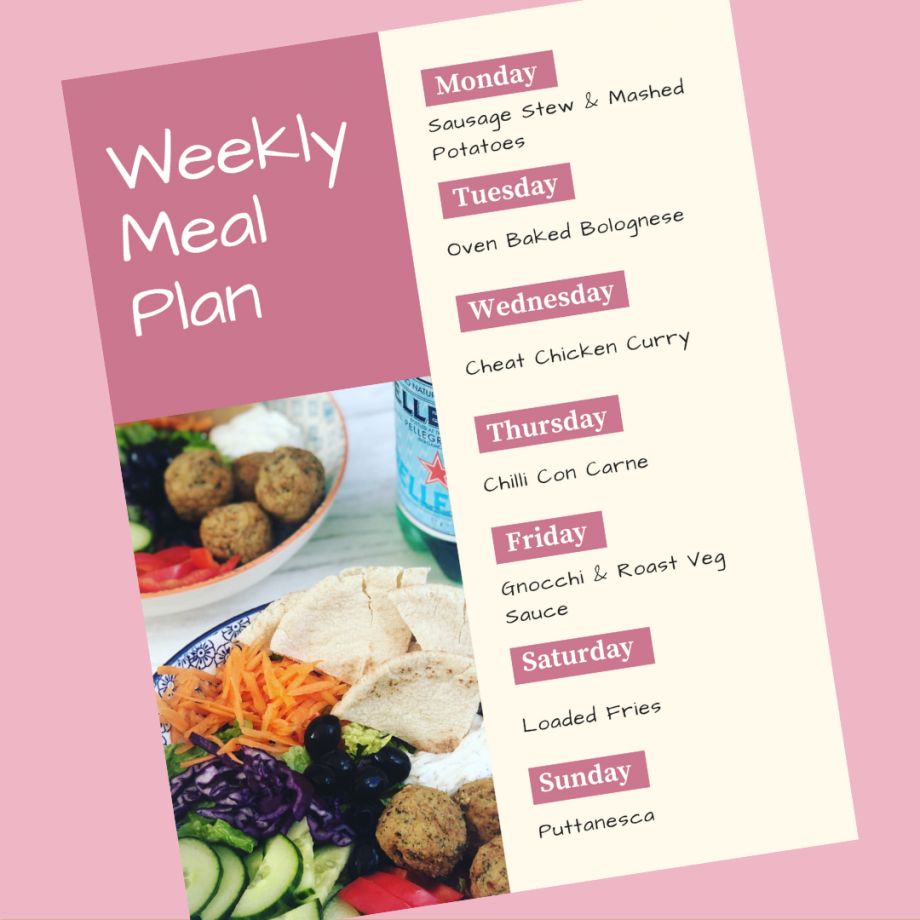 Weekly Meal Plan 9th December 2019