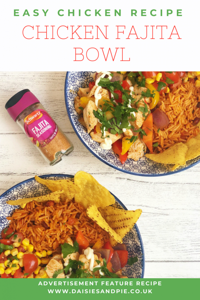 """homemade chicken fajita bowls with stir fried chicken and peppers flavoured with Schwartz fajita seasoning, served in colourful bowls with homemade salsa made with sweetcorn, chopped tomatoes and coriander, served with microwave rice and nachos. Bottle of Schwartz fajita seasoning lay by the bowls. Text """"easy chicken recipe - chicken fajita bowl"""""""