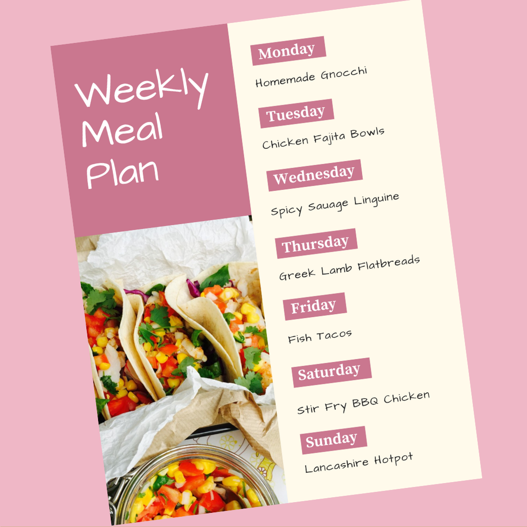 weekly meal plan - Monday - Homemade gnocchi , Tuesday - Chicken fajita bowls, Wednesday - spicy sausage linguine, Thursday - greek lamb flatbreads, Friday - fish tacos, Saturday - stir fry bbq chicken, Sunday - Lancashire hotpot