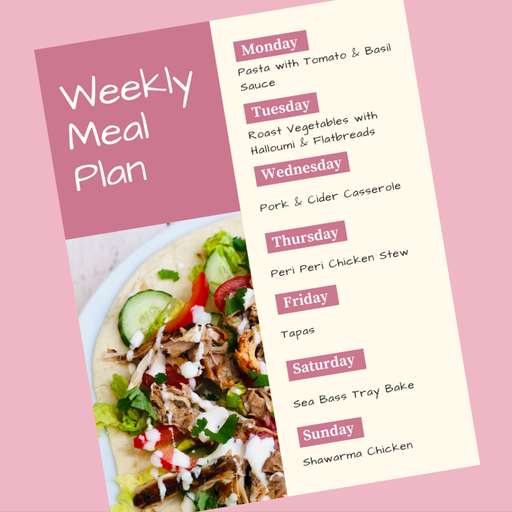 weekly meal plan - Monday - pasta with tomato and basil sauce, Tuesday - roast vegetable and halloumi flatbread, Wednesday - pork and cider casserole, Thursday - peri peri casserole, Friday - tapas, Saturday - sea bass traybake, Sunday - shawarma chicken