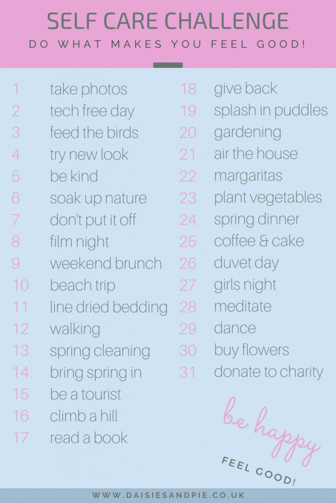 a list of ideas and activities to promote self care and wellbeing