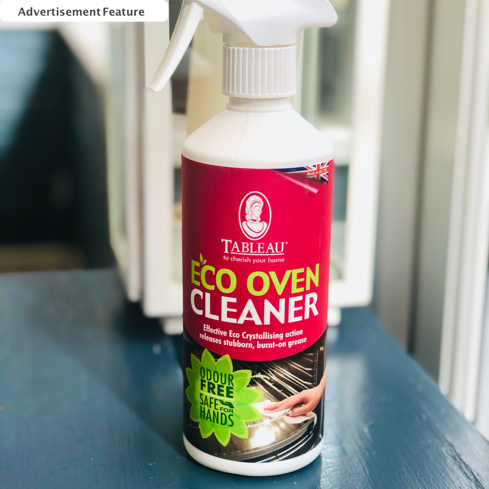 bottle of Tableau Eco Oven cleaner stood on a grey stool