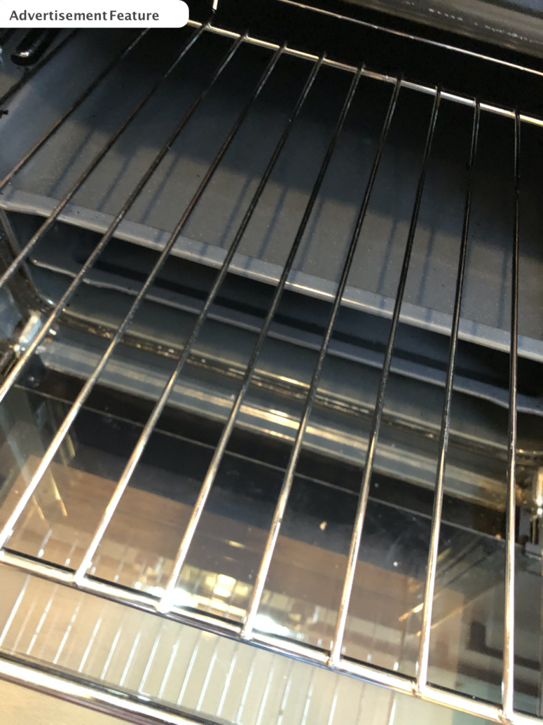 shiny clean oven rack after being cleaned with Tableau Eco Oven cleaner