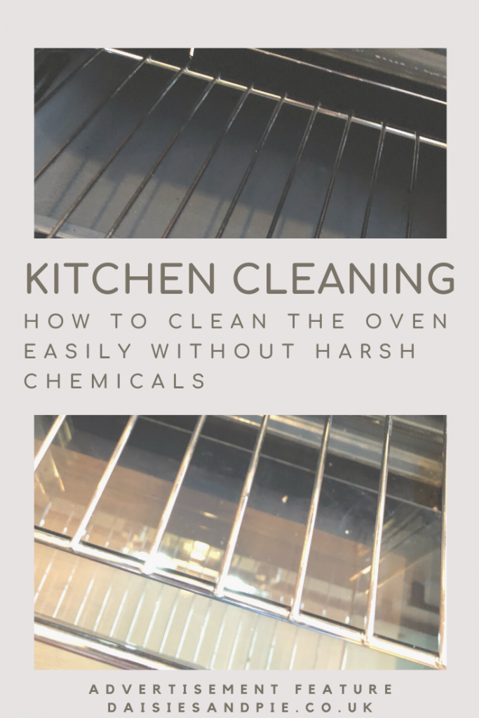 """inside a clean oven, text """"kitchen cleaning - how to clean the oven easily without harsh chemicals"""""""