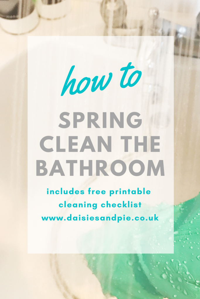 "hands inside green rubber gloves cleaning the bath and spraying it with the shower head to rinse. Text ""how to spring clean the bathroom - includes free printable cleaning checklist - www.daisiesandpie.co.uk"""